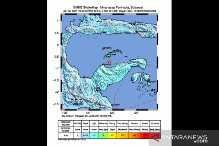 Gempa tektonik magnitudo 5,9 guncang Sulteng