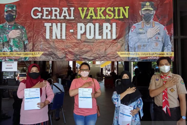 Polda Kalsel vaksinasi  sebanyak 359 anggota Pramuka