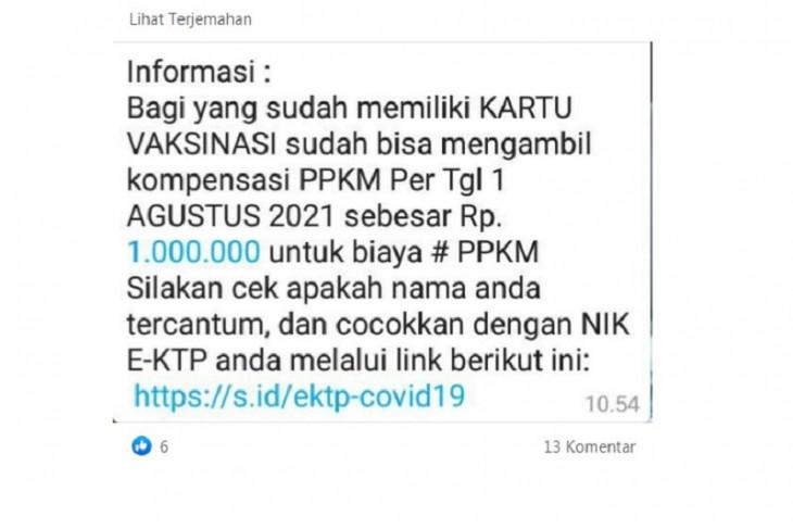 Hoaks, Pemilik kartu vaksin dapat kompensasi PPKM Rp1 juta