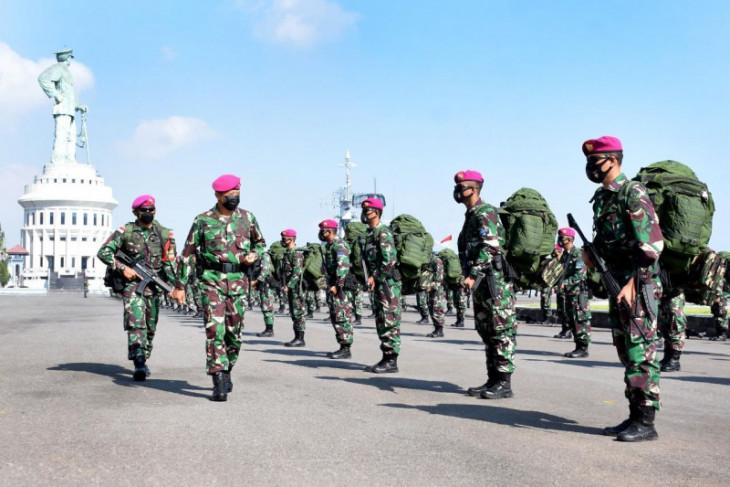 Prajurit Korps Marinir TNI AL berangkat tugas ke Ambalat