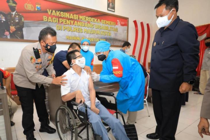 Vaksinasi Merdeka Semeru Polres Madiun Kota sasar penyandang disabilitas