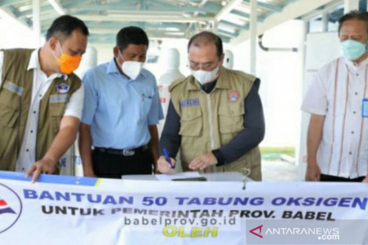 Pemprov Babel terima bantuan 50 tabung oksigen