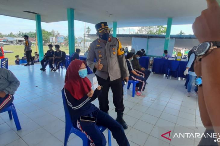 Polres Muarojambi lakukan vaksinasi  kepada 600 pelajar di Sungai Bahar
