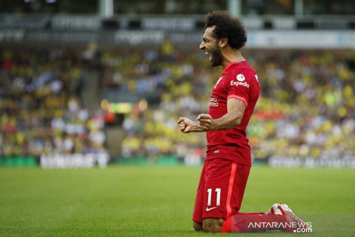 Mohamed Salah cetak rekor saat Liverpool hancurkan Norwich