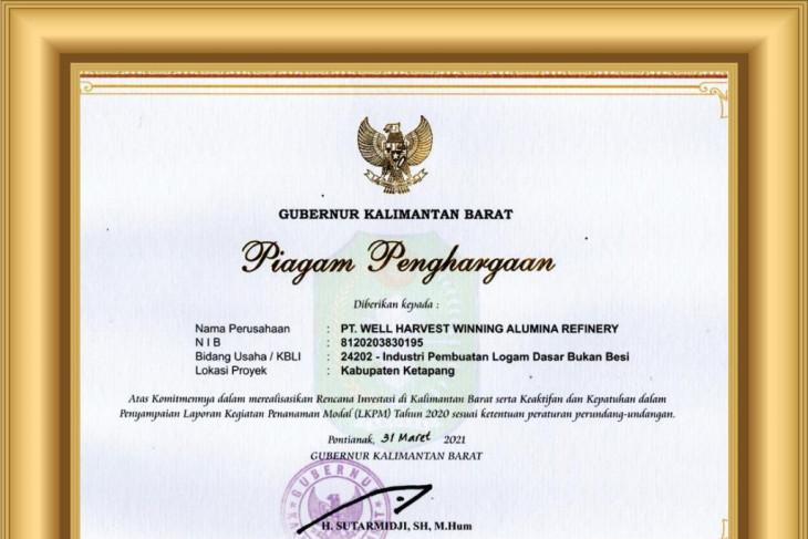 Pemprov Kalbar beri penghargaan PT WHW terkait realisasi investasi