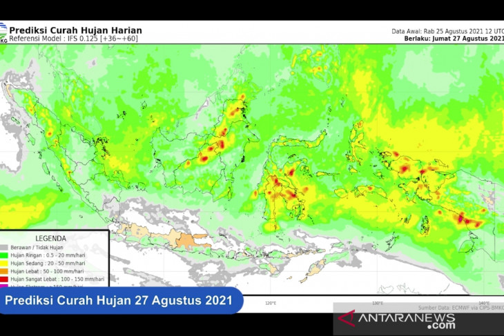 BMKG: Hujan lebat guyur sebagian wilayah di Indonesia