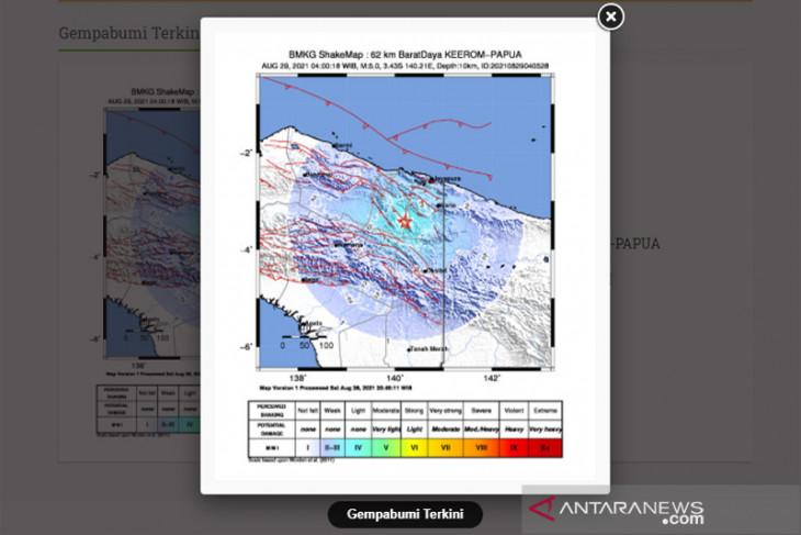 Gempa 5,0 magnitudo guncang Keerom Papua