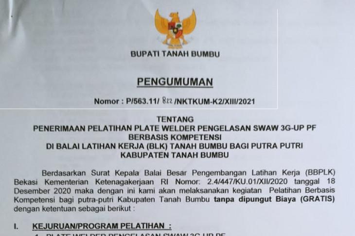 Pemkab Tanbu buka pendaftaran pelatihan kerja
