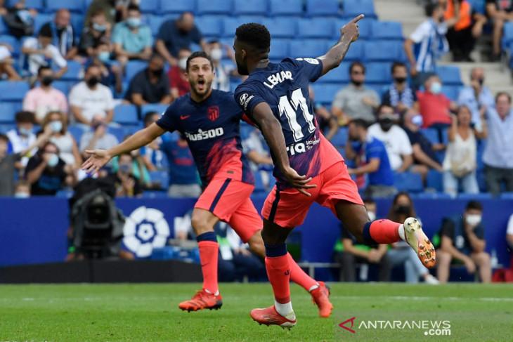 Gol injury time Thomas Lemar bawa Atletico Madrid atasi Espanyol 2-1