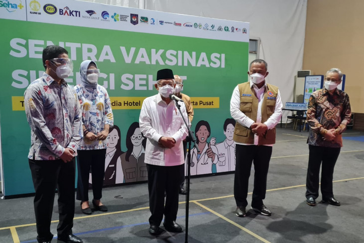 Vice President reviews Sinergi Sehat vaccination center in Jakarta