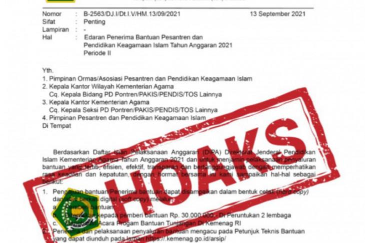 Kemenag tegaskan surat edaran penerima bantuan pesantren hoaks