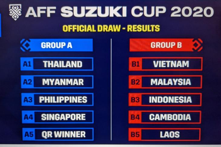 Indonesia satu grup dengan Malaysia dan Vietnam di Piala AFF 2020
