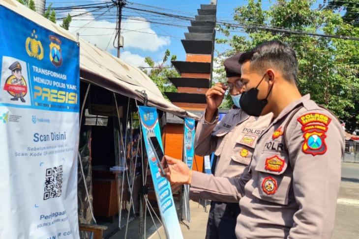 Mapolres Kediri Kota terapkan aplikasi PeduliLindungi bagi anggota dan tamu
