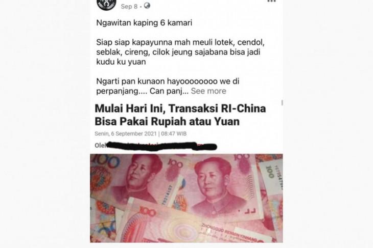 Hoaks, Yuan untuk transaksi di Indonesia