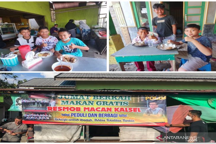 Jumat berkah makan gratis Resmob Macan Kalsel diserbu warga