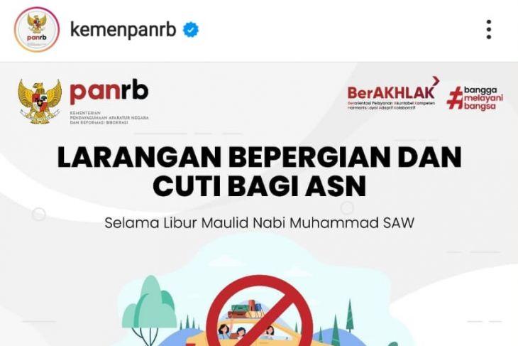 Kemenpan RB melarang ASN cuti bepergian di libur maulid