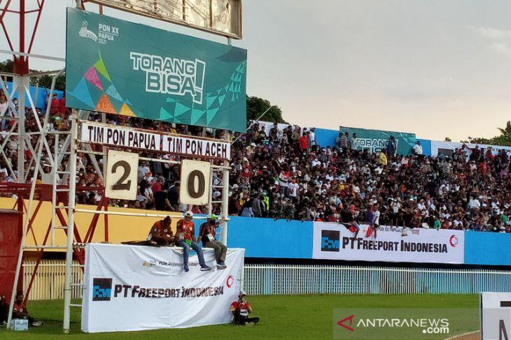 Papua ungguli Aceh 2-0 hingga turun minum di babak final
