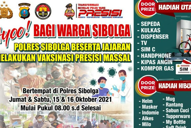 Besok, Polres Sibolga gelar vaksinasi dosis II berhadiah