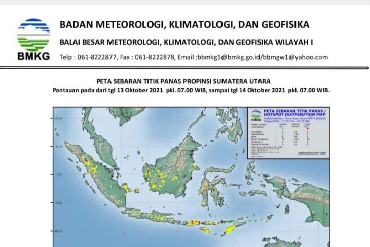 BMKG: Terpantau  31 titik panas di Sumatera Utara