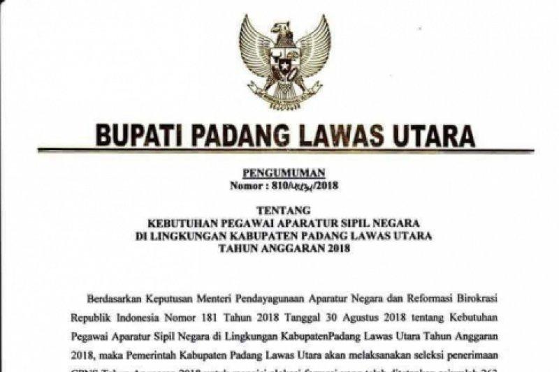 Pemkab Paluta Umumkan Formasi 263 Cpns 2018 Antara News Sumatera Utara
