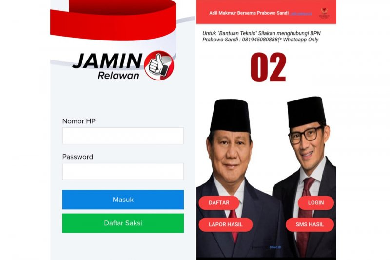 Aplikasi kawal suara pemilu dari TKN dan BPN