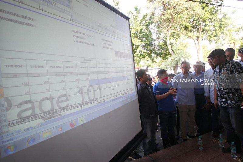 Sandiaga Uno pastikan rekapitulasi suara di Surabaya berlangsung jurdil