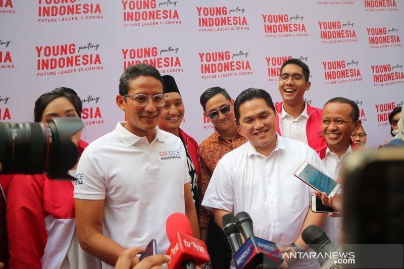 Erick Thohir sumringah bertemu sahabat karibnya Sandiaga Uno