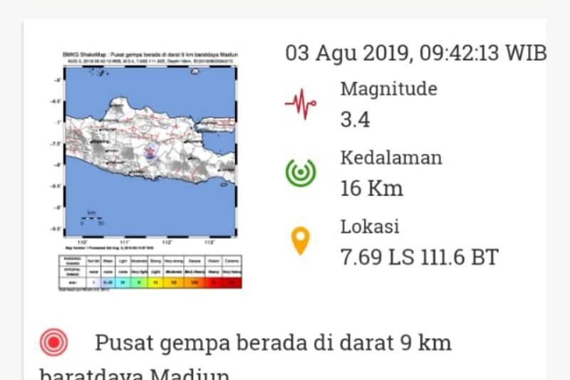BMKG catat 19 gempa bumi di Madiun