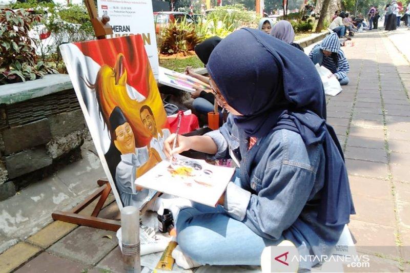 45 peserta lomba lukis adu kemampuan di sekitaran Kebun Raya Bogor