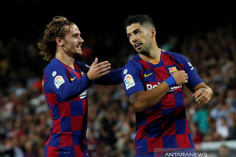"""Griezmann belum """"klop"""" dengan Lionel Messi dan Luis Suarez"""