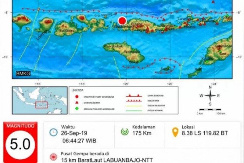 Gempa magnitudo 5.0 guncang Manggarai Barat
