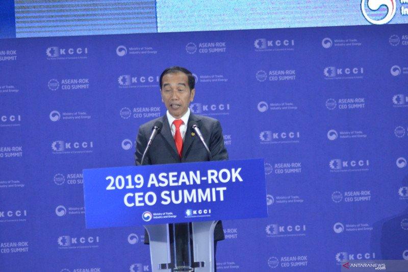 Presiden Jokowi ajak ASEAN dan Korea buat terobosan agar ekonomi kawasan tak tergerus terus