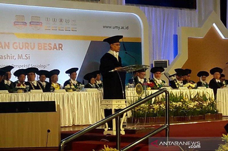 Ketua Umum Muhammadiyah Haedar Nashir dikukuhkan sebagai guru besar UMY