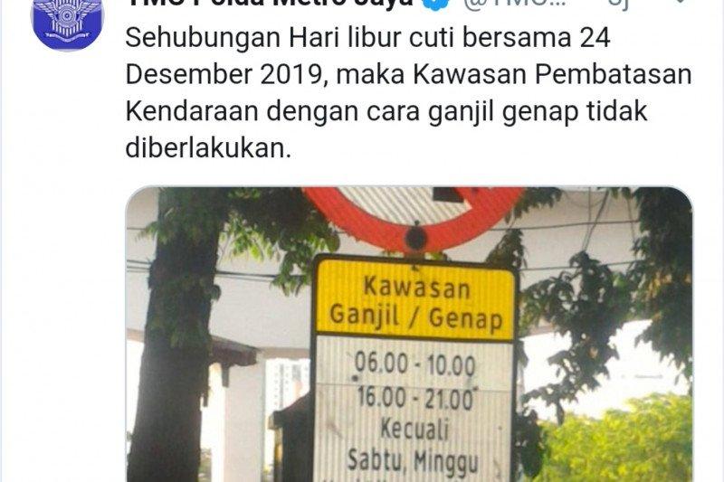 Libur Natal, ganjil-genap di Jakarta ditiadakan