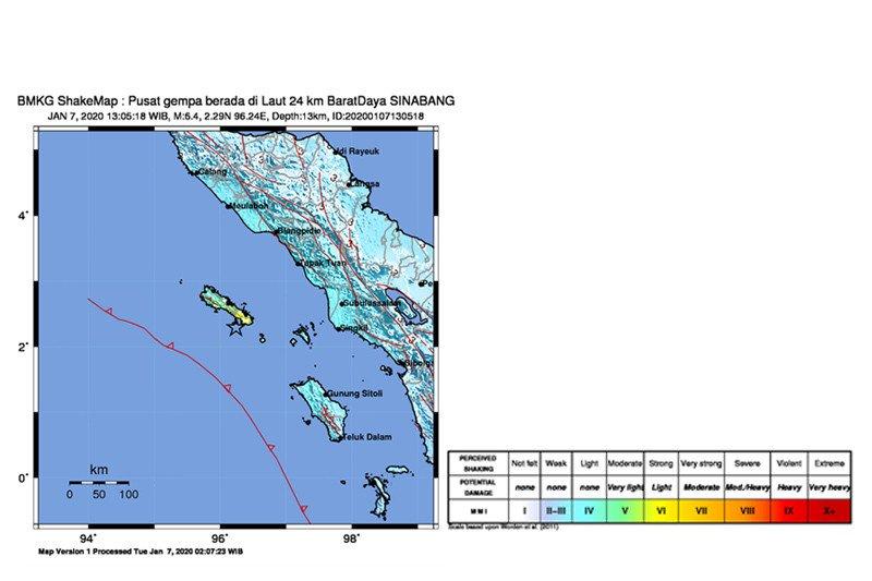 Gempa magnitudo 6.4 guncang Sinabang, getarannya sampai ke Medan