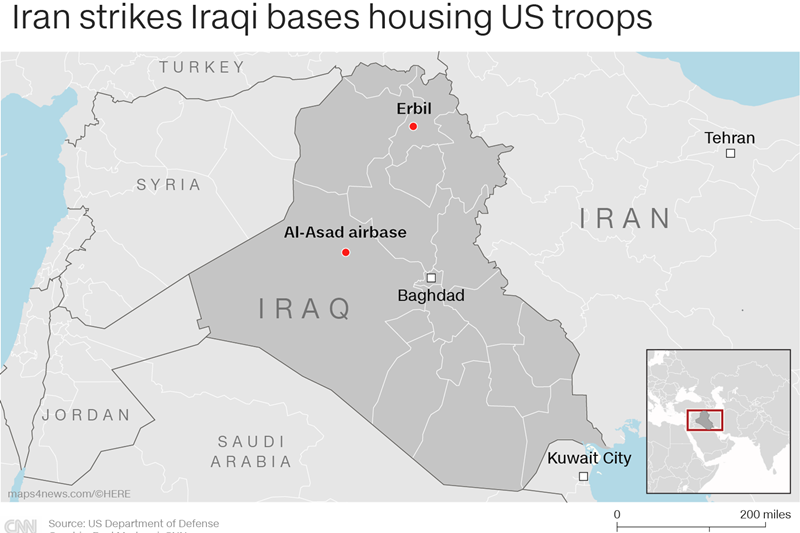 22 rudal balistik Iran serang pangkalan pasukan koalisi di Irak