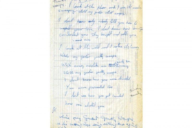 "Tulisan tangan lirik lagu Beatles ""While My Guitar Gently Weeps""  dilelang"