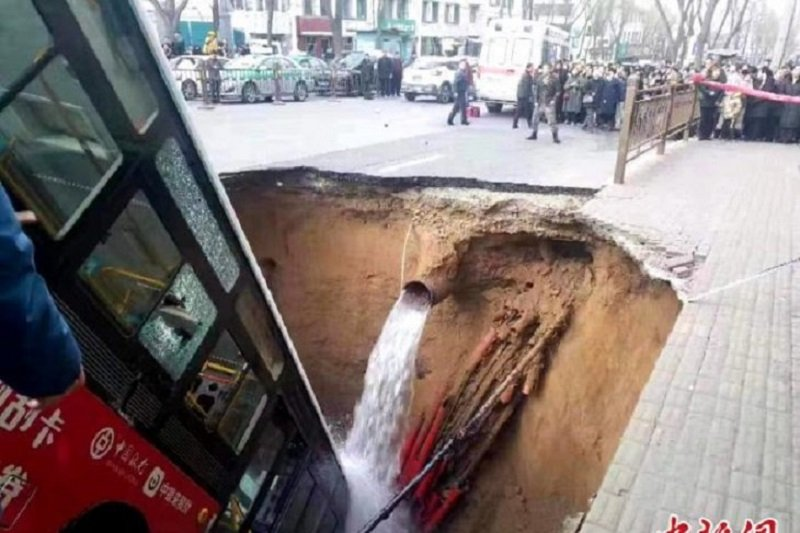 Enam tewas, 10 hilang akibat jalan amblas di Qinghai, China