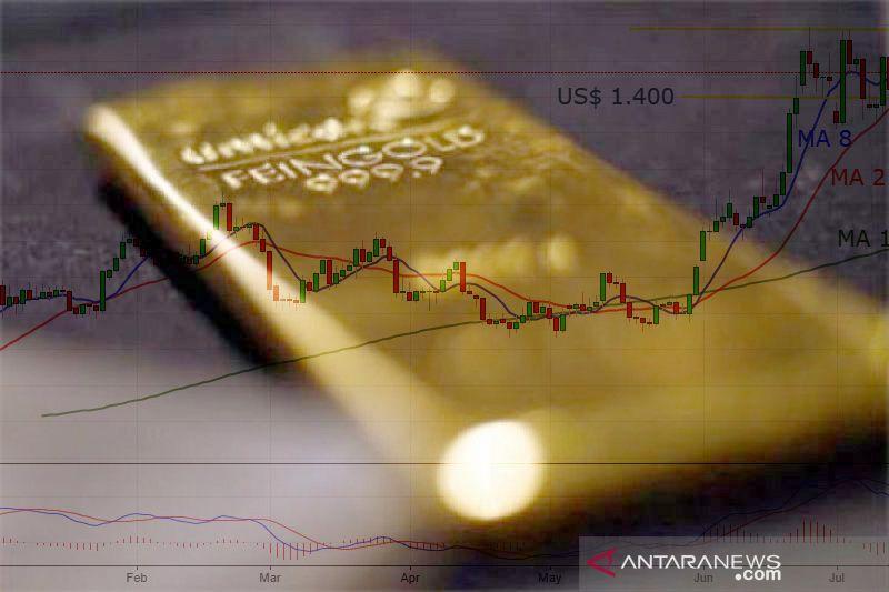 Emas turun, dolar AS lanjutkan kenaikan, fokus pada komentar Fed