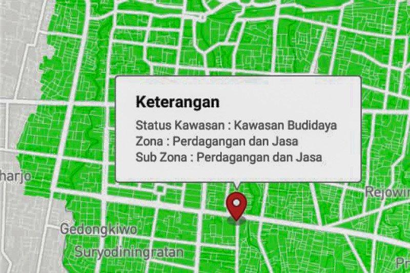 Informasi tata ruang Yogyakarta dapat diakses daring