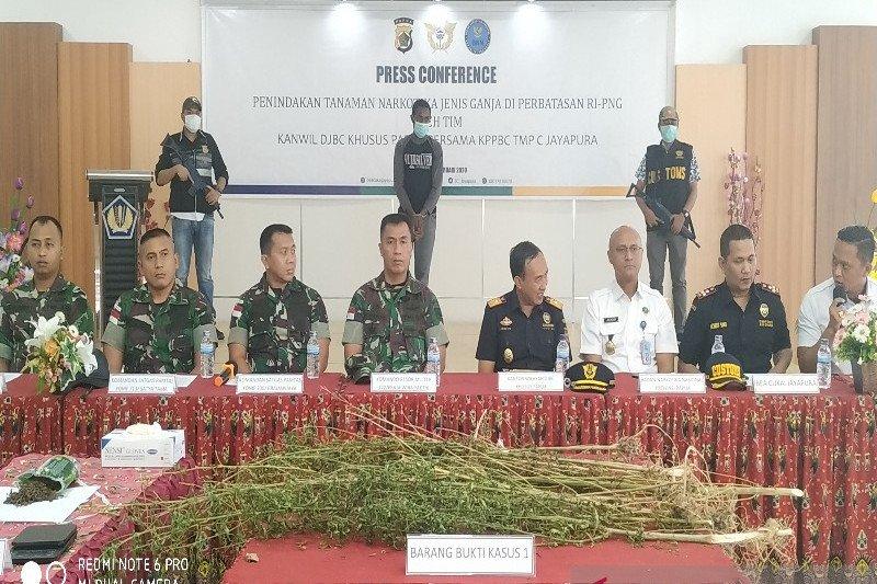 Bea Cukai dan TNI Satgas Pamtas amankan ganja di perbatasan RI-PNG