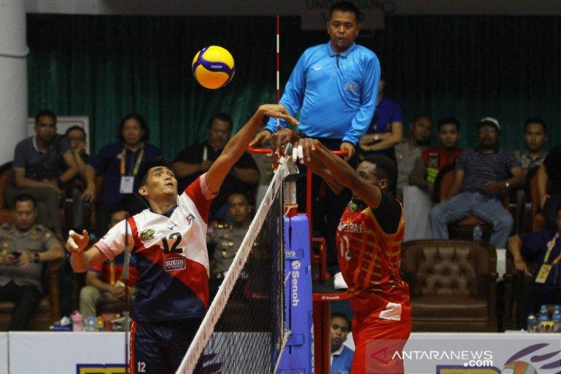 Tim voli putra Surabaya Bhayangkara Samator kalahkan Palembang Bank Sumsel Babel 3-1