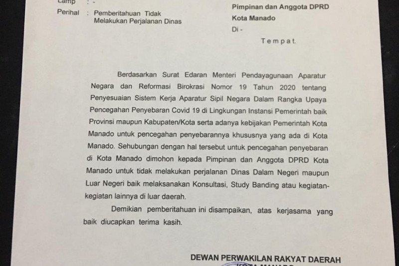 Ketua DPRD Manado larang Kunker dalam-luar negeri cegah penyebaran corona