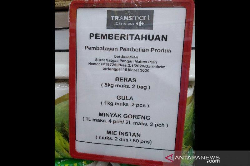 Kasatgas Pangan Polri jelaskan pembatasan pembelian sembako