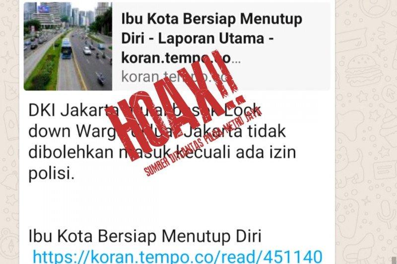 "Polisi sebut hoaks tentang Jakarta ""lockdown"",  warga luar harus izin"