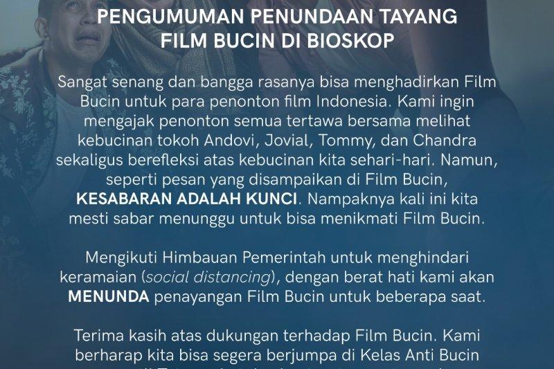 "Film ""Bucin"" tunda jadwal tayang cegah COVID-19"