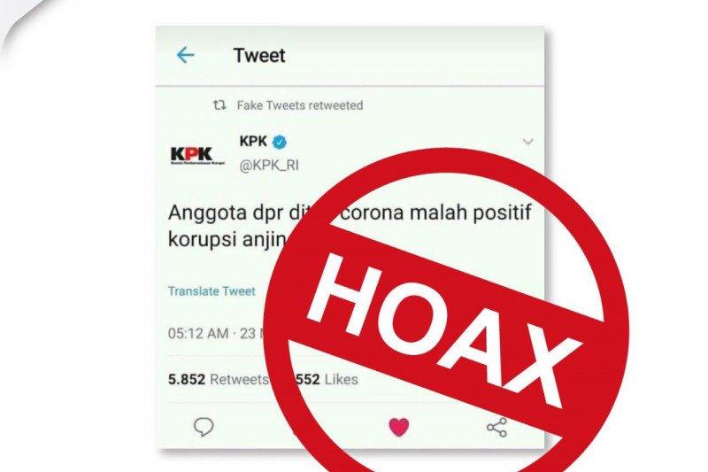 Hoaks, unggahan gambar terkait tes COVID-19 anggota DPR di akun twitter KPK