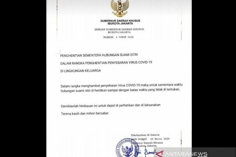 Beredar seruan hoaks Gubernur DKI penghentian sementara hubungan suami istri