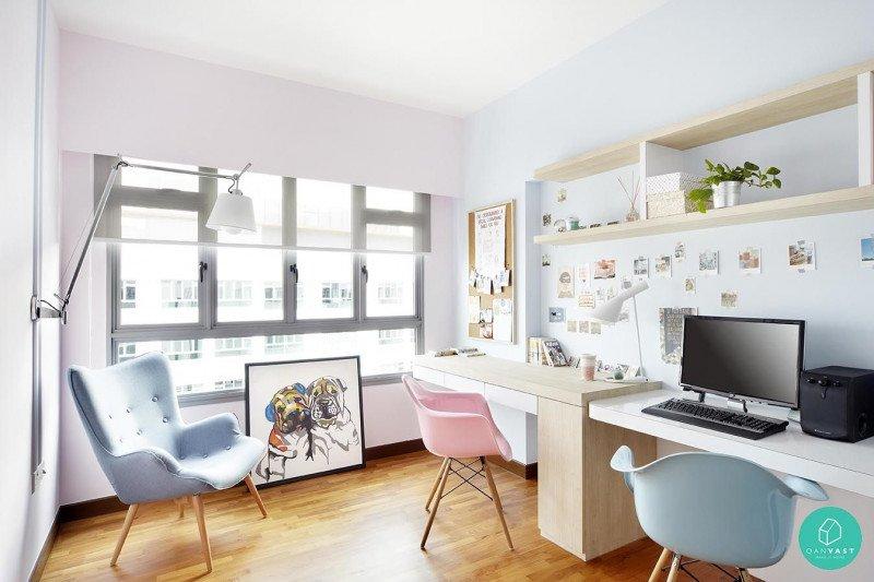 "Lima inspirasi ""home office""  warna pastel yang bikin betah  saat WFH"