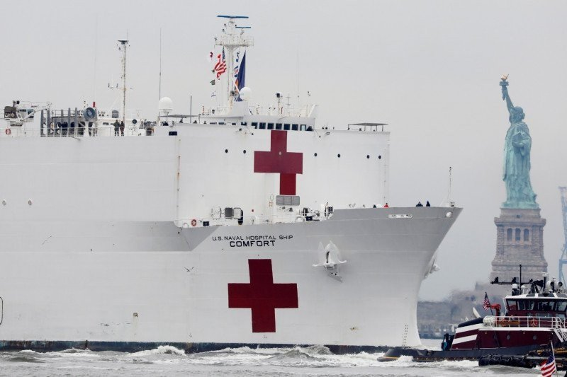 Sejumlah pasien kapal rumah sakit militer AS positif terinfeksi corona